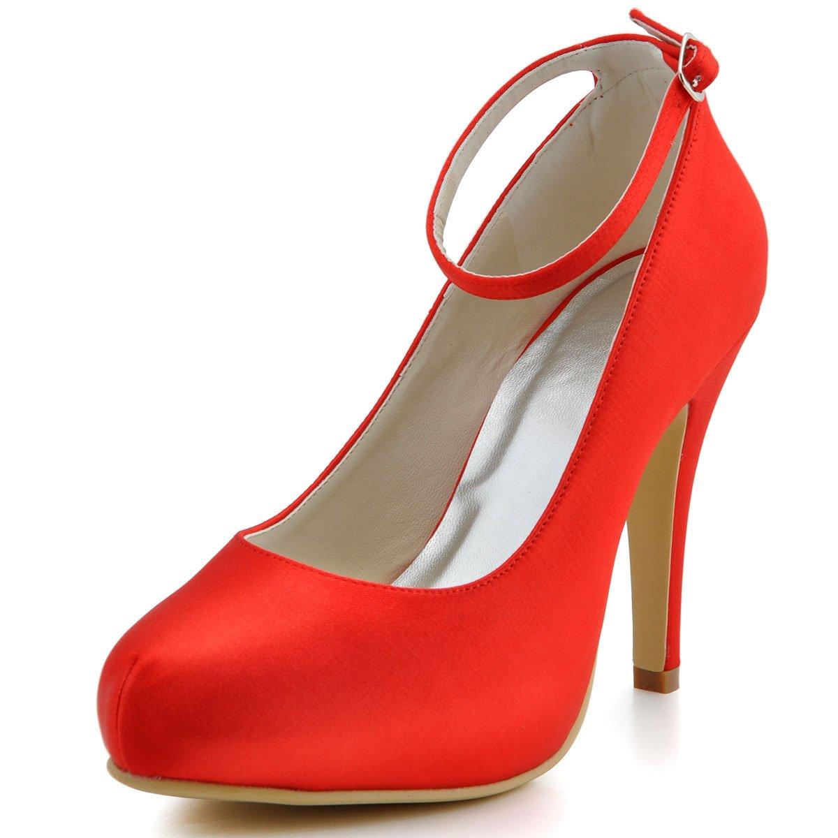 ElegantPark Women Pumps Closed Toe High Heel Platform Ankle Straps Evening Wedding Shoes B00HSHR1P0 8 B(M) US Red