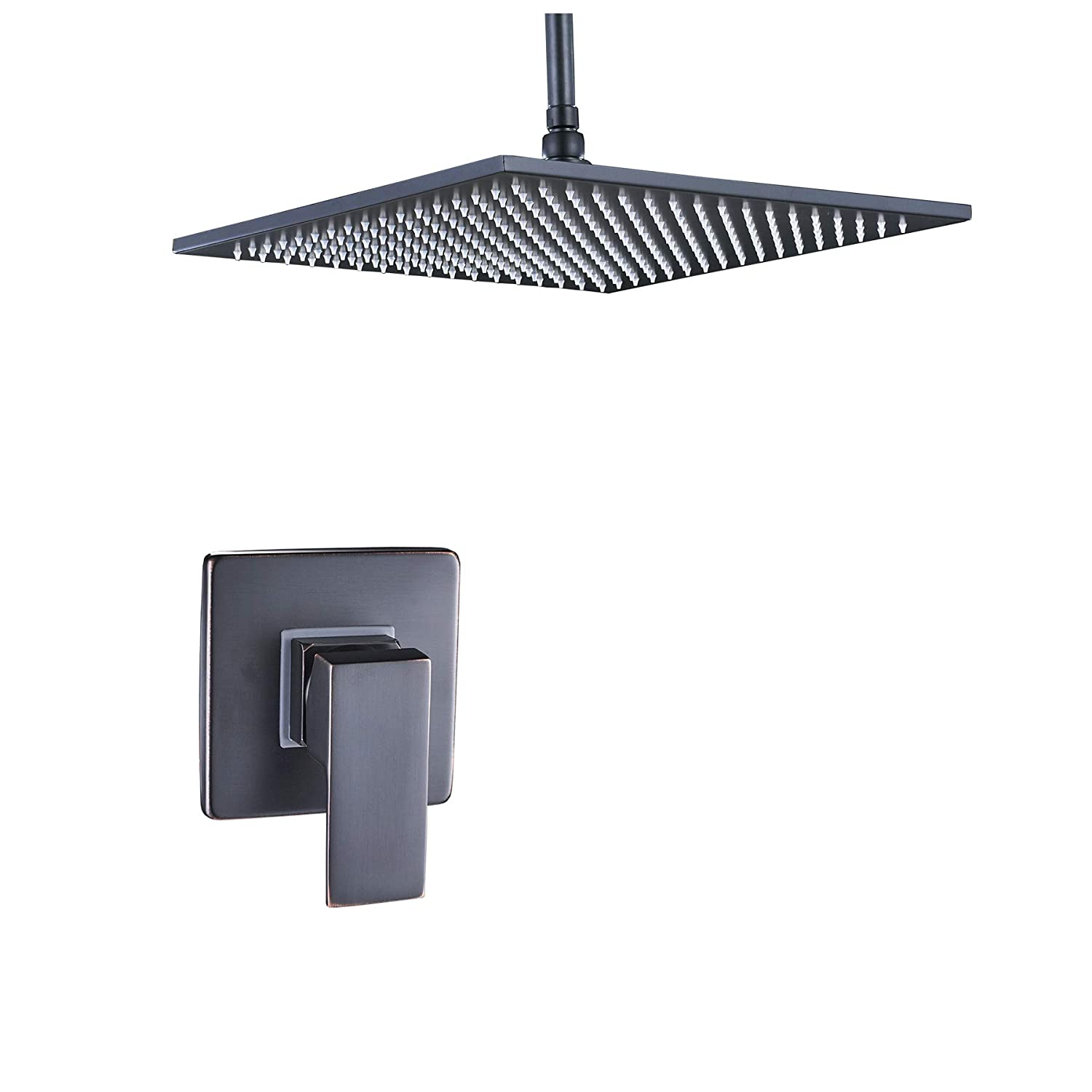 Rozin Ceiling Mounted 16 Square Rainfall Shower Head with Single Lever Mixer Vavle Black Color