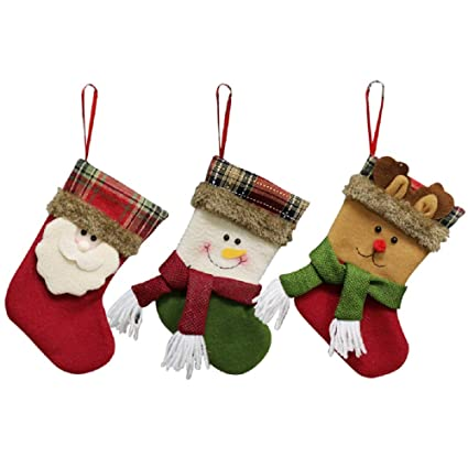 YAMUDA Calcetines de Navidad, 3 piezas, tamaño pequeño, para Navidad, decoración del