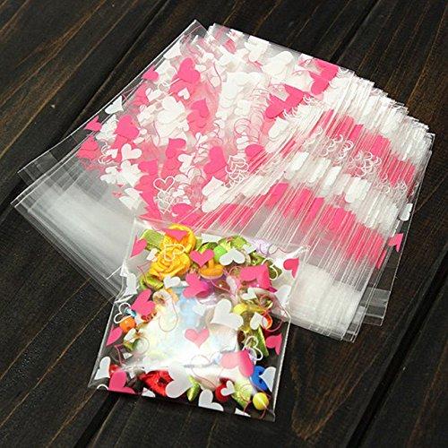 100Pcslot Cute Heart Transparent Cookies Package Bag Self-Adhesive Birthday Christmas Food Handmade Baking Gift Packaging Bags