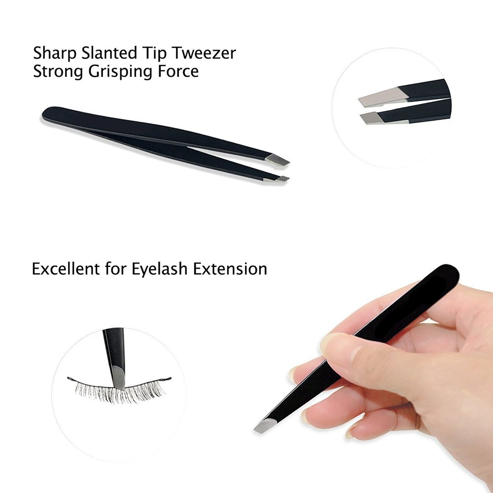 Wishesport Tweezers Set, Precision 3 Pcs Slant Flat Pointed Professional Stainless Steel Tip Hair Tweezers with Travel Case, Best Eyebrow Tweezers and Ingrown Hair Remover for Women and Men (Black)