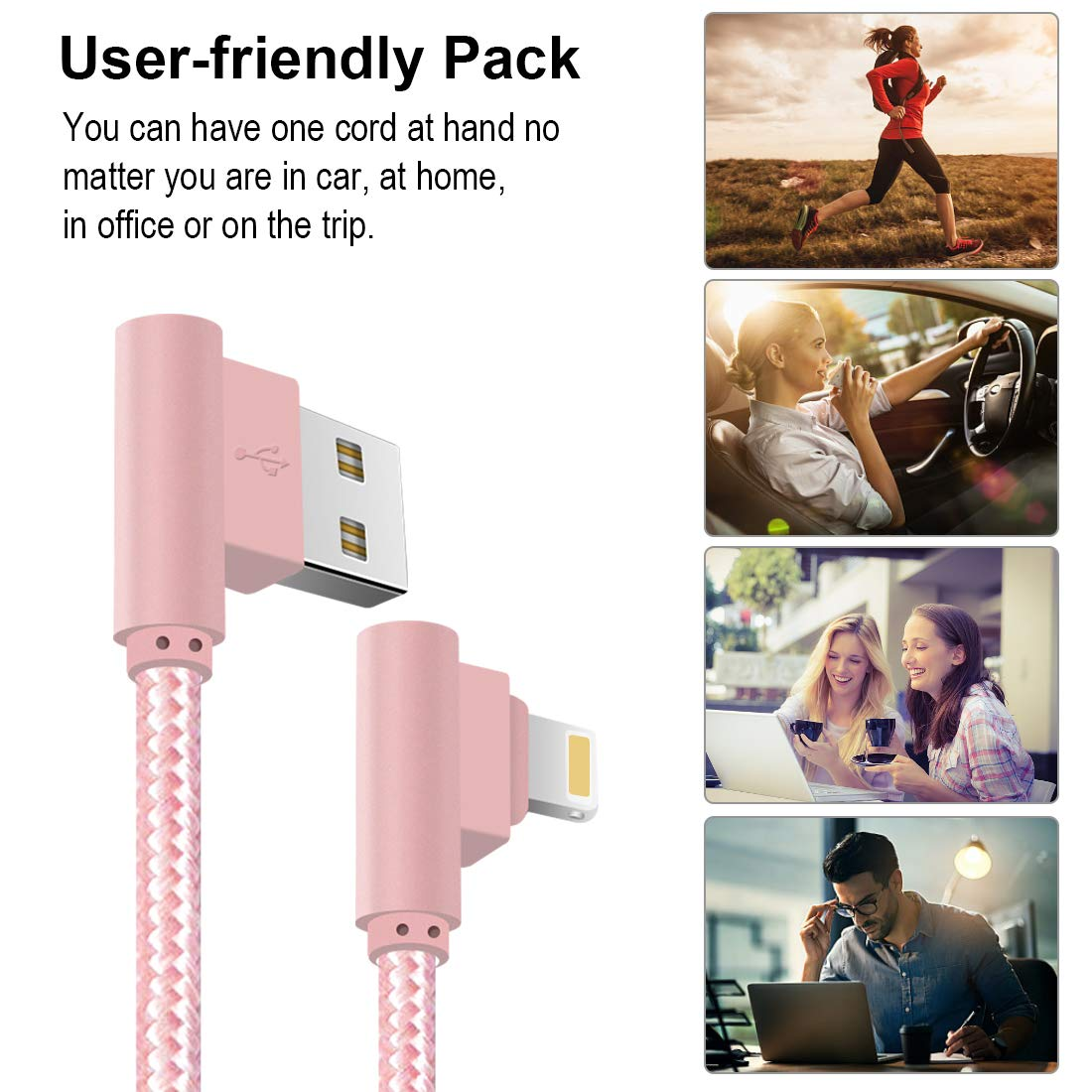 90 Degree Lightning Cable Compatible iPhone Xs/XR/ X/ 8 Plus/ 7/6 ...