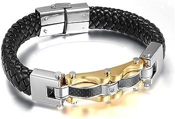 Euromen Pulseras De Hombre Titanium Enchapada en Oro Bracelets Men Unisex Jewelry PL0044