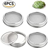Set of 4 Stainless Steel Sprouting Jar Lid Kit...