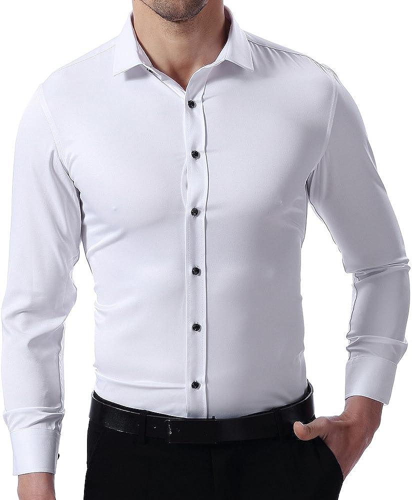 Camisa Bambú Fibra Hombre, Manga Larga, Slim Fit, Camisa Elástica Formal/Casual para Hombre