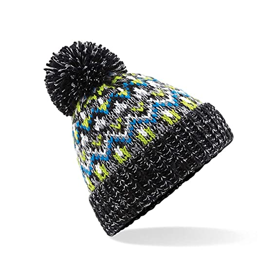 d230cb21c8d ASVP Shop Corkscrew Cable Knitted Bobble Hat Plain Mens Womens Beanie Warm  Winter Pom Wooly Cap (Black Jacks)  Amazon.co.uk  Clothing