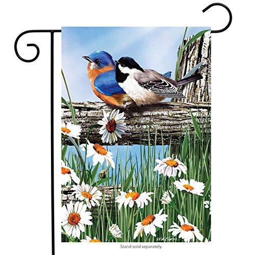 Spring Break Birds Garden Flag Bluebird Chickadee Daisies 12.5