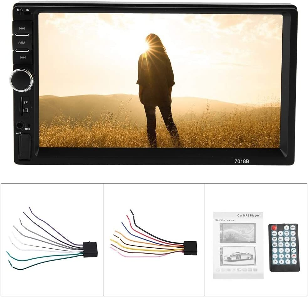 Car MP4 MP5 Player 7018B 7HD Car MP4 MP5 Player AUX Stereo BT Manos libres LCD FM Radio con control remoto y adaptador de corriente