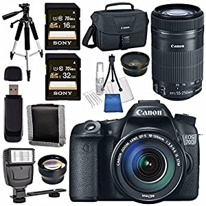 Canon EOS 70D DSLR Camera with 18-135mm STM Lens + Canon EF-S 55-250mm Lens + 58mm Wide Angle Lens + 58mm 2x Lens + Canon 100ES EOS Shoulder Bag Bundle