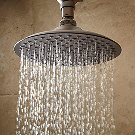 Naiture 12 Head Width 19 Arm Length Brass Rainfall Shower Head With Ornate Arm In Oil Rubbed Bronze Finish