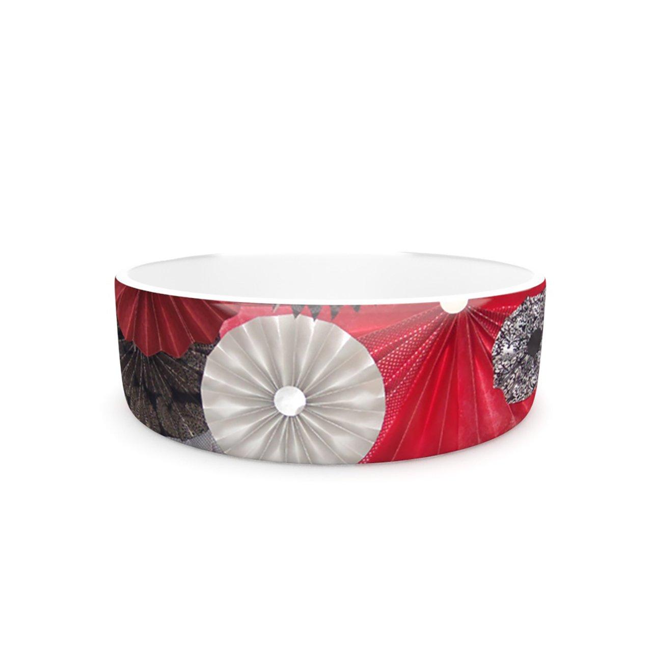 Kess InHouse Heidi Jennings Kyoto  Pet Bowl, 7-Inch, Red Black