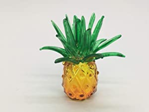 WitnyStore Glass Pineapple Figurine - Collectible Fruit Art - Clear and Colored Hand Blown and Painted Miniature Table Decor Collector's Item Perfect for Gifts and Souvenirs .75