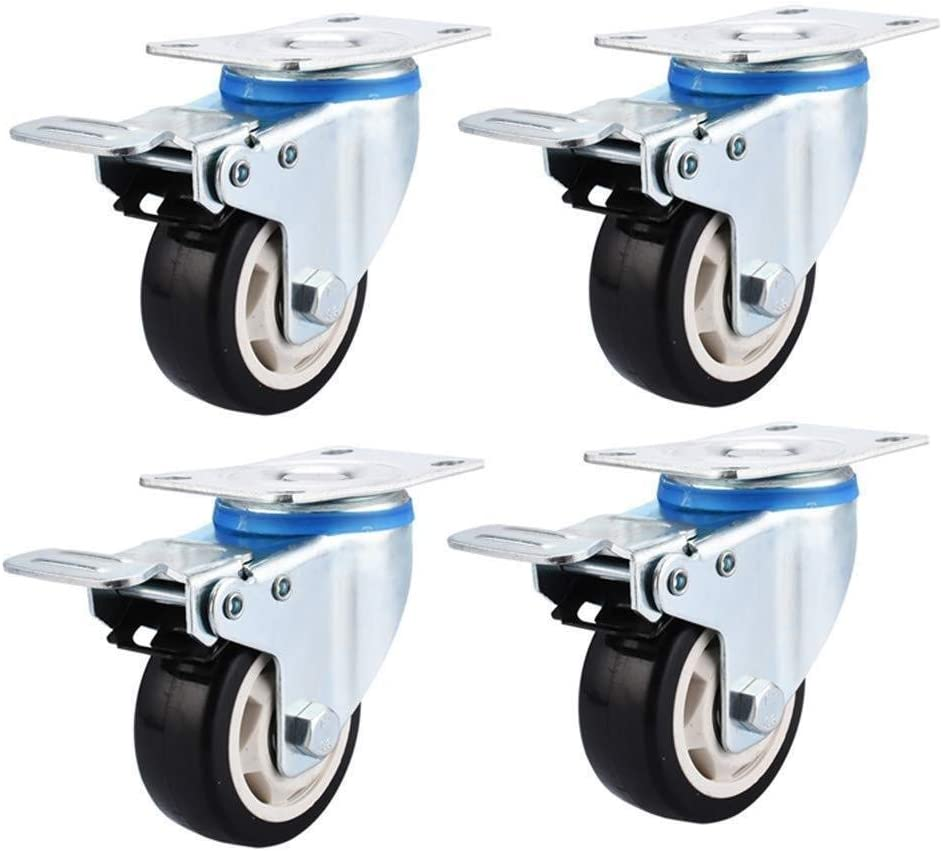 Color : B, Size : 4in Casters 4 PCS 3 Inch//4 Inch//5 Inch Heavy Duty PU Wheels with Fixed Plate Universal Swivel Brake Long Term Use