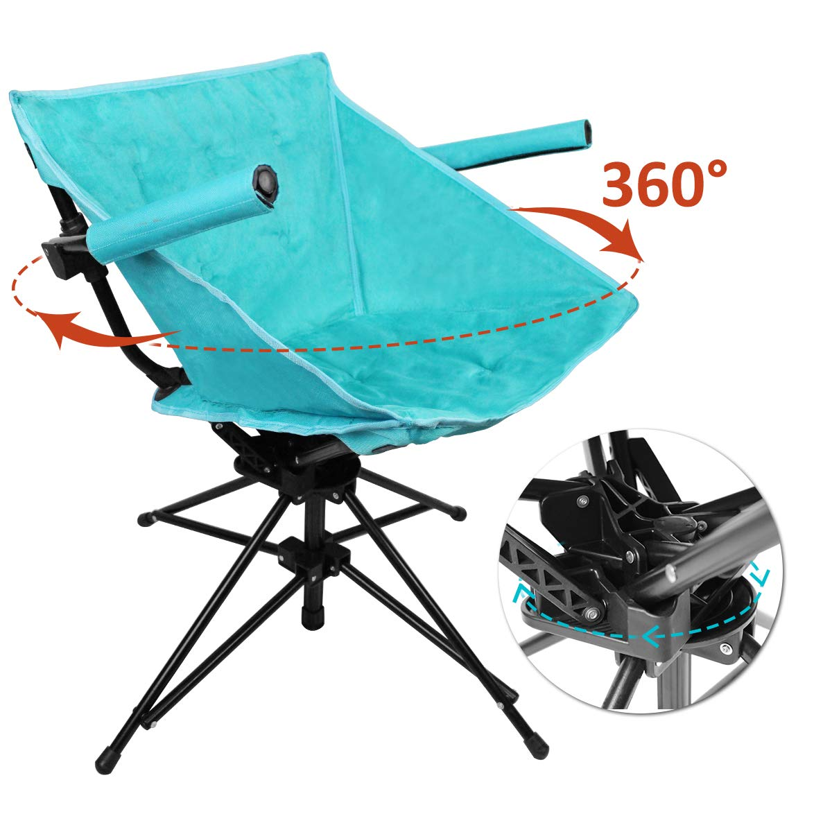 Magnificent Zenree Folding Camping Hunting Chairs Outdoor Portable Blind Swivel Chair Comfortable Compact Fishing Sports Seat With Black Microfiber Padded Seat Bralicious Painted Fabric Chair Ideas Braliciousco