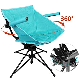 Outstanding Zenree Folding Camping Hunting Chairs Outdoor Portable Blind Swivel Chair Comfortable Compact Fishing Sports Seat With Black Microfiber Padded Seat Camellatalisay Diy Chair Ideas Camellatalisaycom