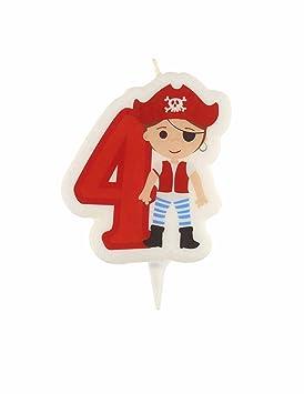Vela cumpleaños pirata cifra 4: Amazon.es: Juguetes y juegos