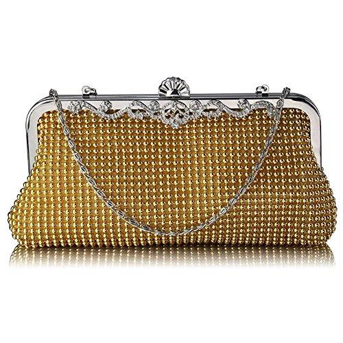 Womens Designer carcasa rígida de embrague, bolsa de noche, satén bolsa de embrague A - Gold