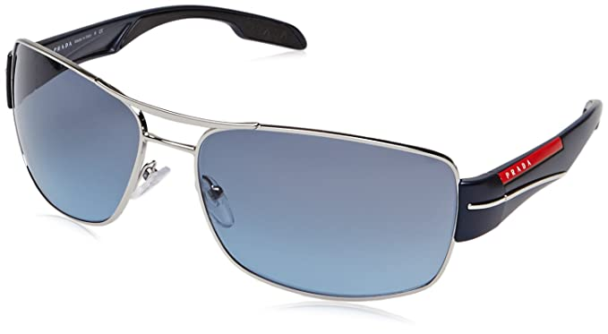 Prada Sport - Gafas de sol Rectangulares para hombre, color plateado, talla 65 mm