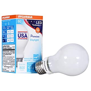 SYLVANIA General Lighting 40238 5000K, Sylvania 60 Watt Equivalent, A19 LED Light Bulbs, Dimmable, Energy Star Rated, Daylight Color, Made in The USA with US and Global Parts, 1 Pack, 1-Pack