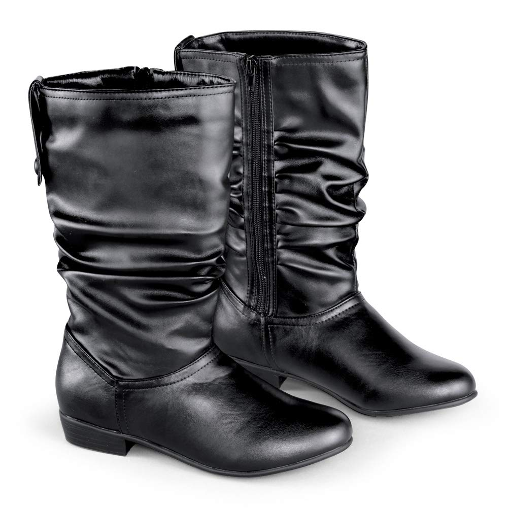 Faux Leather Mid Calf Slouch Boots w/ Low Heel, Black, 10