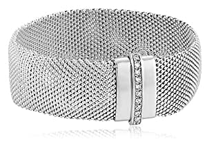 Italian Sterling Silver Mesh Popcorn and Cubic Zirconia Magnetic Clasp Bracelet, 8""