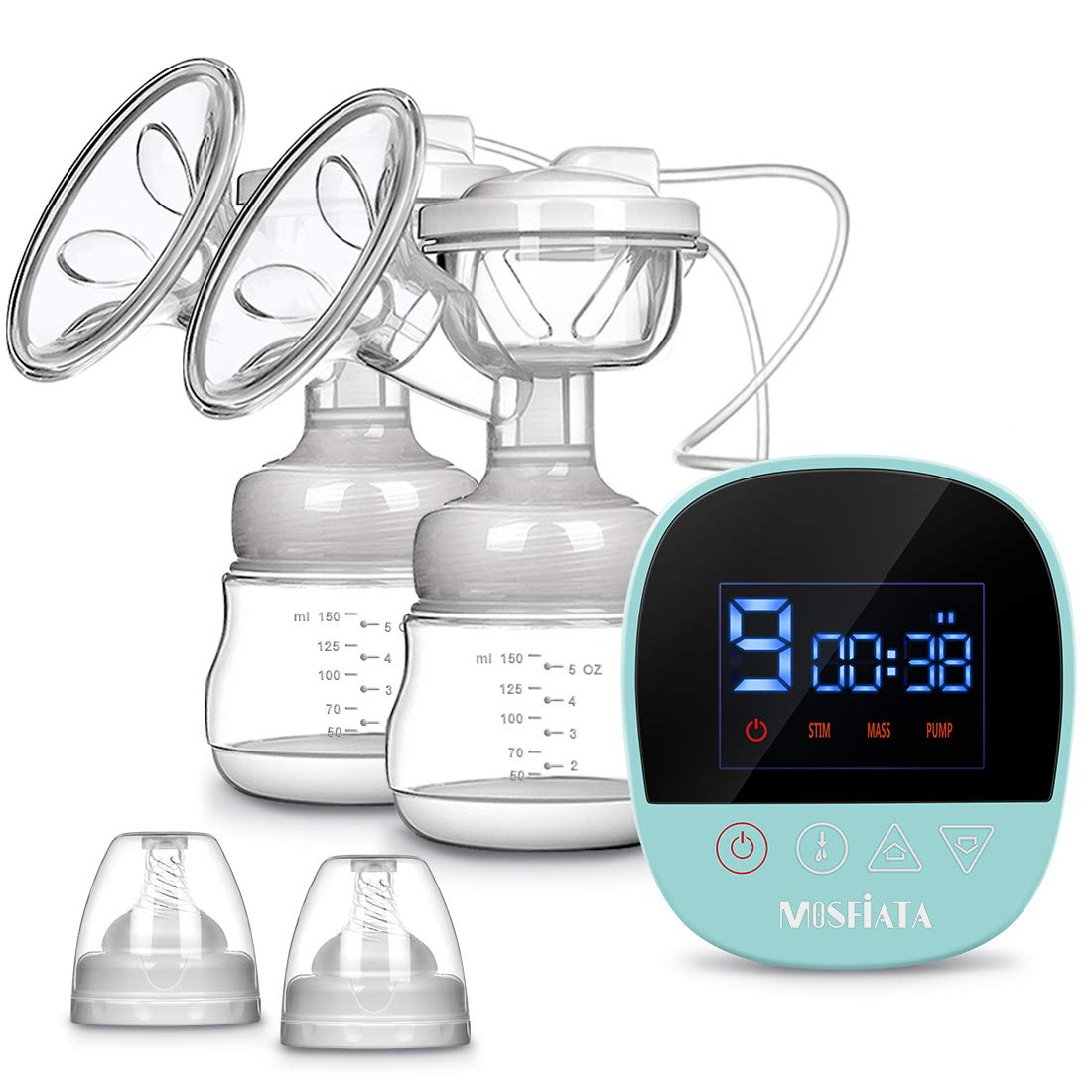Electric Breast Pump - MOSFiATA Rechargeable Nursing Breastfeeding Pump with Massage Mode, LCD Smart Touch Screen, 3 Modes and Backflow Protector BPA Free FDA Certified