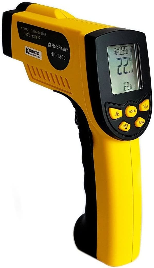 Holdpeak Hp 1300 Infrarot Thermometer 16 1 50 1300 C Einstellbare Emissivität Pyrometer Laser Gelb Grau Baumarkt