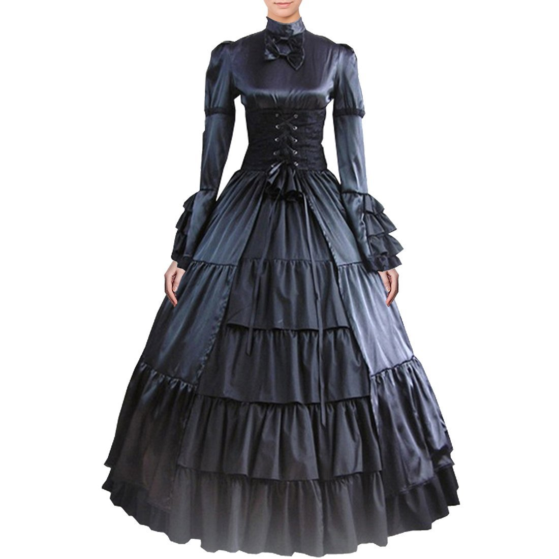 Fancy Dress Store Partiss Women Bowknot Stand Collar Gothic Victorian Dress Costumes M,Black by Fancy Dress Store (Image #1)