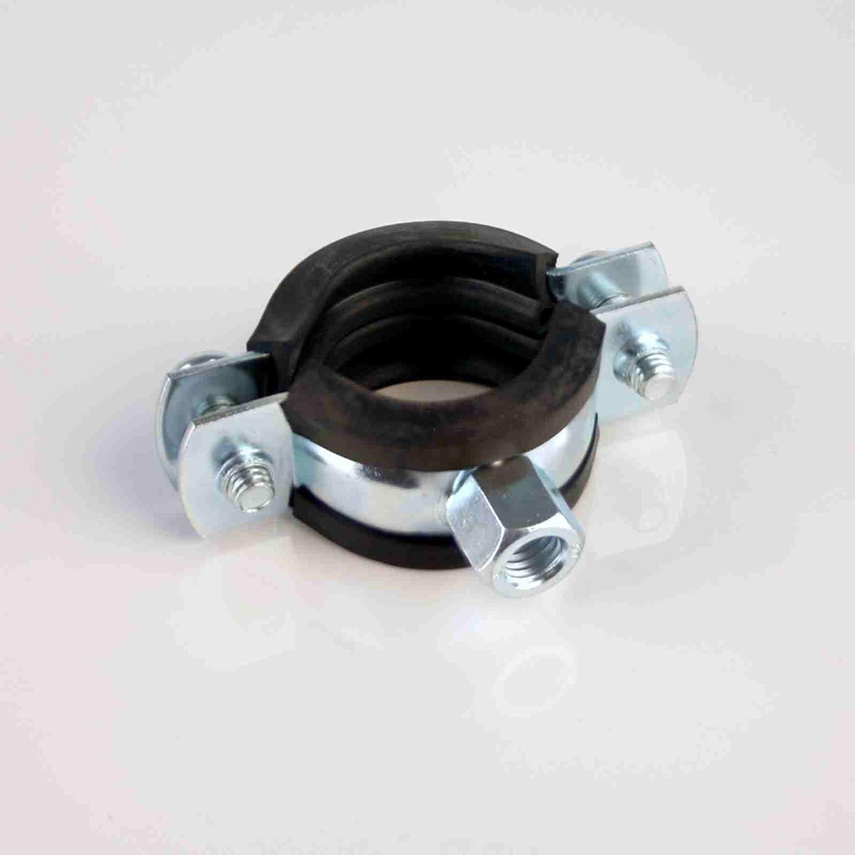 50 St/ück Rohrschellen 12-16 mm 1//4 Zoll Zweischraubenschelle mit Gummieinlage DIN 4109