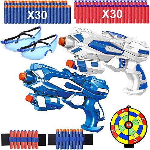 2 Pack Toy Guns for Boys, Blaster Guns w/ Shoot Target, 60 Soft Foam Refill Darts,2 Bullet Wrist Band and 2 Safety Glasses, Children Toy Pistol Pellet Gun Xmas Birthday Gifts for Kid Age 3-12 Year Old