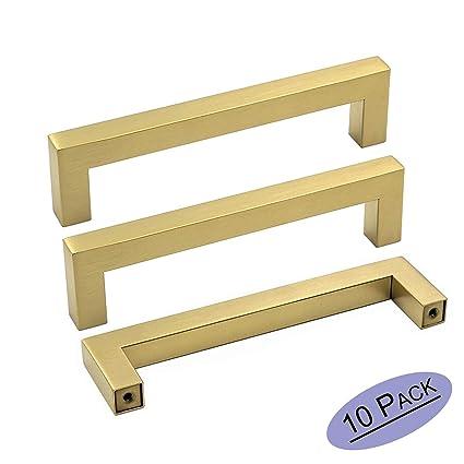 Goldenwarm 5 Inch Gold Drawer Pulls Brushed Brass Handles Lsj12gd128 Kitchen Cabinet Handles Square Bar Pulls Cupboard Bathroom Door Knobs Gold