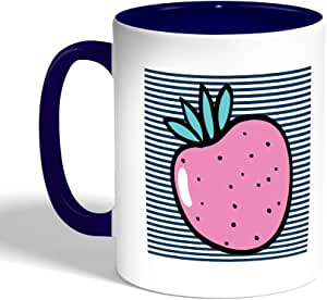 Printed Coffee Mug, Blue Color, Fruit - Strawberry