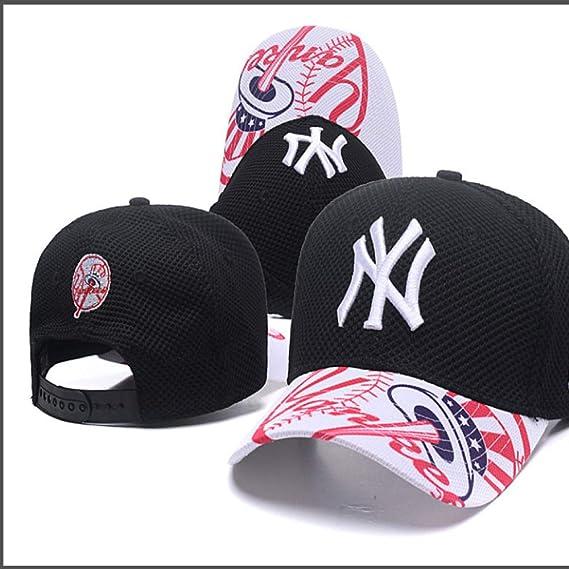 woyaochudan Gorra de béisbol Yankees Rosa Patrón Hip Hop Hat 9 ...