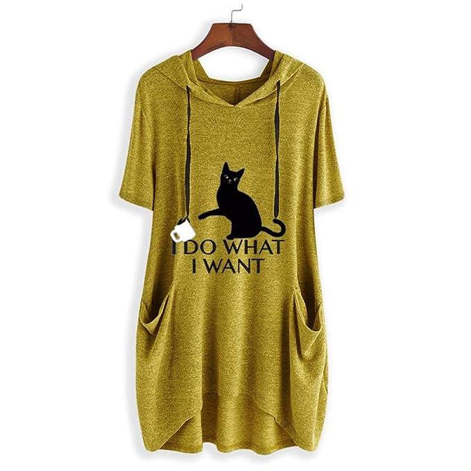 Beikoard - Camiseta con Estampado de Oreja de Gato con Capucha para Mujer(M-5XL),Manga Corta,Tops Mujer Fiesta Tops Blusas para Mujer Tops Mujer Verano ...