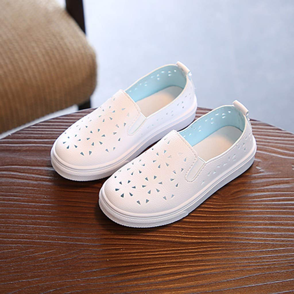4-12 Years Little Kids Toddler Baby Boys Girls Fashion Leather Slip-on Sneakers Rubber Sole Anti-Slip Hollow Out Shoes