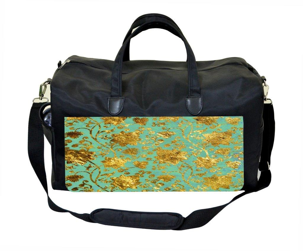 Gold Floral on Mint Gym Bag