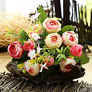 Asodomo Artificial Flowers, Fake Flowers Silk Plastic Rose Flowers 6 Heads Bridal Wedding Bouquet for Home Garden Party Wedding Decoration 87