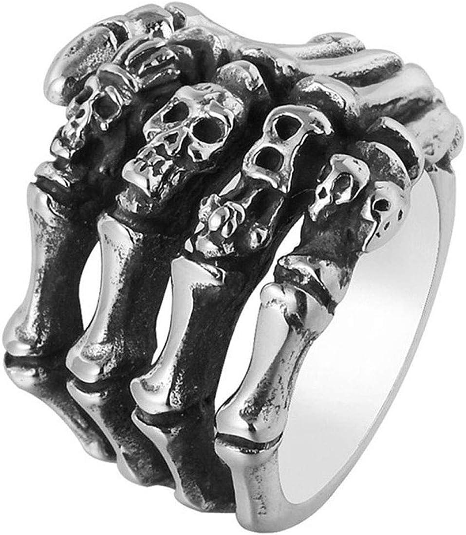 HIJONES Gótico Cráneo Esqueleto Hueso Mano Anillo para Hombre Acero INOX