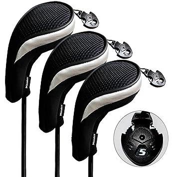 Andux 3pcs/Set Fundas de Cabeza de Palo de Golf híbridos con Intercambiable No. Etiqueta (3 Unidades)
