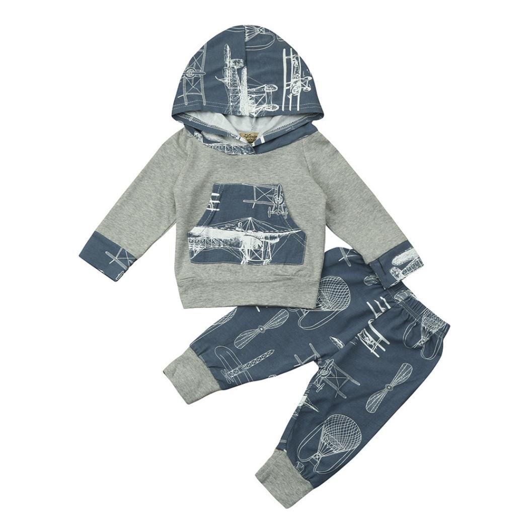K-youth® Ropa Bebe Niño Otoño Invierno Camisetas con capucha manga larga y Pantalones, 0~24 meses Bebe Ropa Bluestercool01