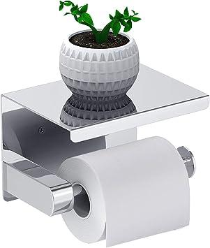 Plata Leolee Portarrollos para Papel Higi/énico Acero inoxidable SUS304 con Adhesivo y Tornillos,Porta Rollos de Papel Higienico con Estante de Almacenamiento