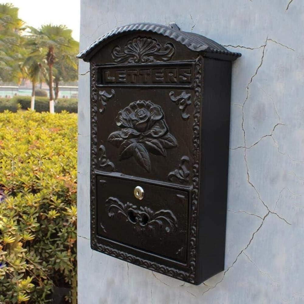 Nologo Buzón Correos Exterior Buzón de Correos Buzón jardín Hogar Flor de Pared Simple Caja de Hierro Periódico