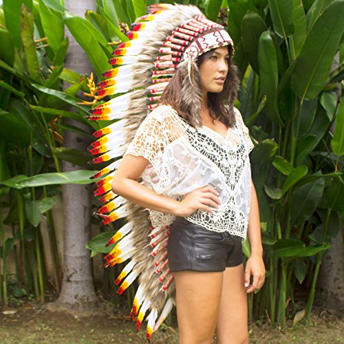 Extra Long Feather Headdress- Native American Indian Style - Multicolor Duck (Chief Indian Princess Costume)