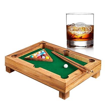 401f920403722 AMAVEL - Set con Mini Tavolo da Biliardo in Legno e Bicchiere da Whisky in  Vetro - Personalizzato ...