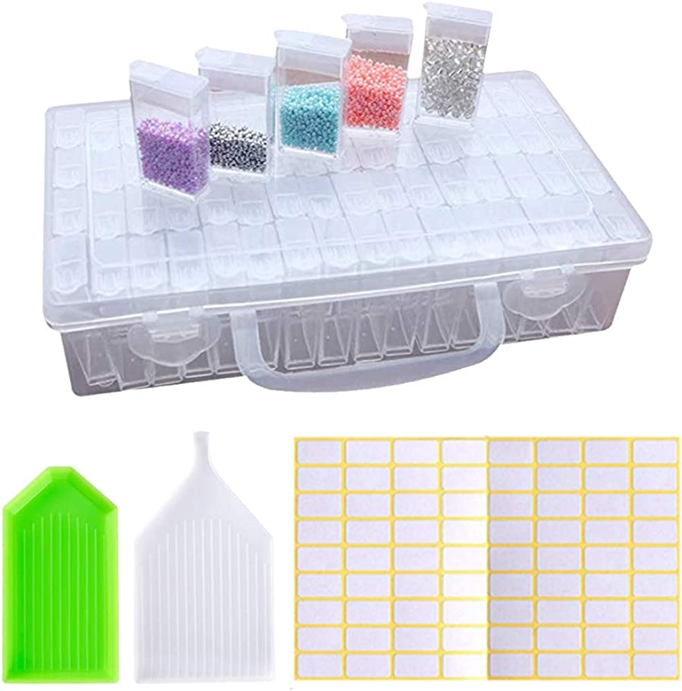 64 Grid Plastic Storage Box Case Jewelry Bead Screw Organizer Container Clear