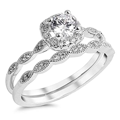 Amazon.com: Sterling Silver CZ Solitaire Double Band Wedding Ring ...