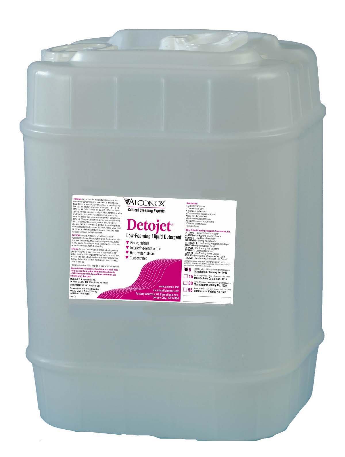 Alconox 1605 Detojet Low Foaming Liquid Detergent, 5 Gallon Jerrycan