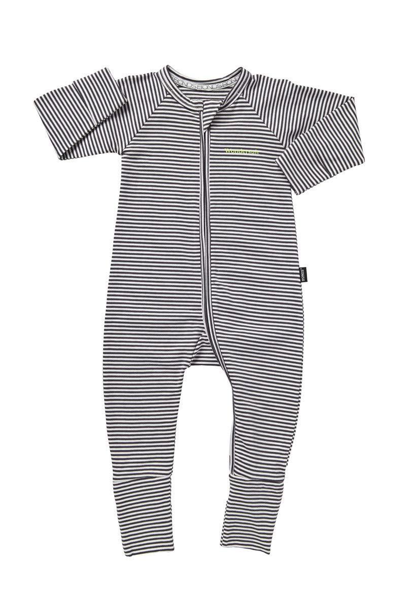 Bonds Baby Wondersuit - Absolute Steel & White Stripe (000)