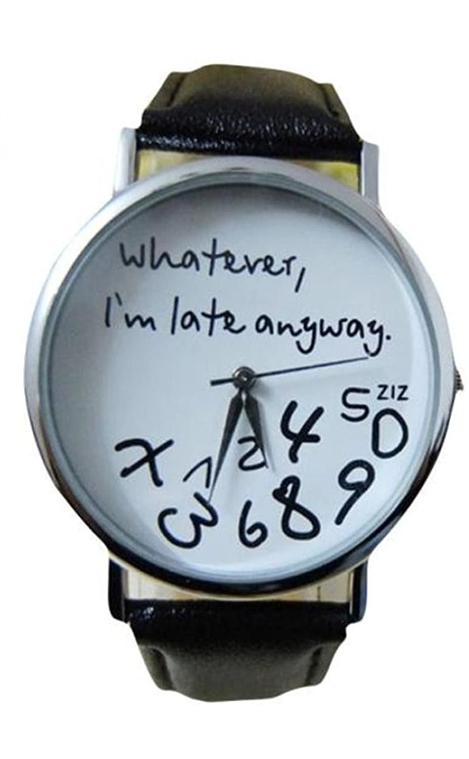 Amazon.com: Womens Watch,Funny Leather Wristwatch Whatever I am Late Anyway Letter Dress Clock Axchongery (Black): Musical Instruments