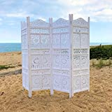 The Global Chic Sun, Moon and Star 4 Panel Room Divider of Hand Carved Sustainable Mango Wood, White, 78 3/4 Wide X 1 Deep X 71 Tall Inches By Whole House Worlds